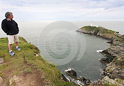 A View of South Stack Lighthouse, Wales Editorial Stock Photo