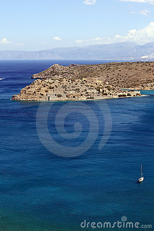 View of Spinalonga island, Crete, Greece.