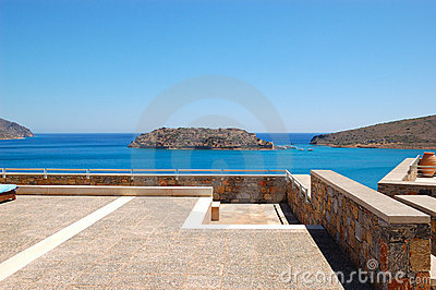 View on Spinalonga Island from luxury hotel
