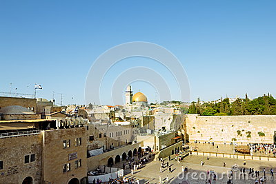 View of the square in front of the Western Wall in Jerusalem