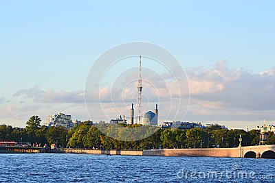View of the St.Petersburg. Tower and Mosque.