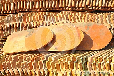 View of a stack of pattern of the roof tiles.