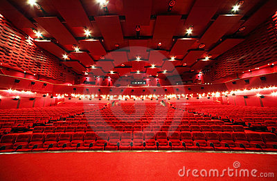 View from stage on rows of chairs in cinema Stock Photo
