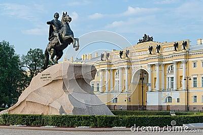 View of the statue of the Bronze Horseman in Saint Petersburg