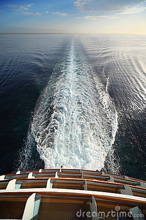 View from stern of big cruise ship.