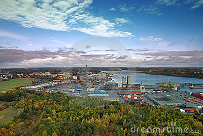 View of Stockholm seaport.