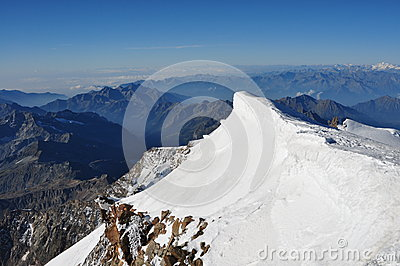 View from the summit of Mount Rosa