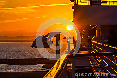 View of sunset from cruise ship