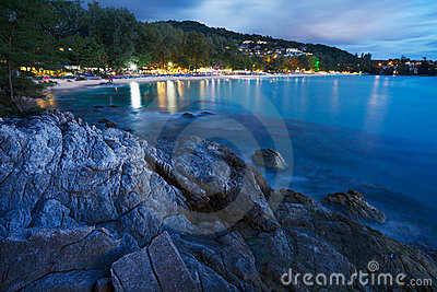 View of Surin beach at night