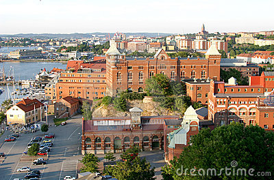 View upon Swedish Göteborg and channel