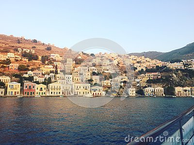 View of Symi Bay, Greece Stock Photo