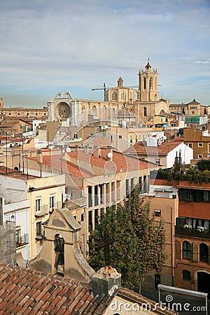 View at Tarragona and cathedral, Catalonia, Spain