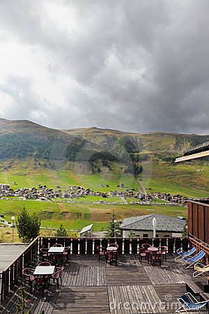 The view from the terrace of ski hotel
