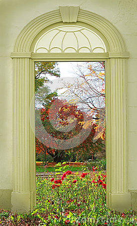 Free View Through Arched Door, Autumnal Park Stock Image - 55905141