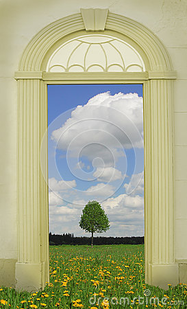 Free View Through Arched Door, Dandelion Meadow Royalty Free Stock Image - 55561196