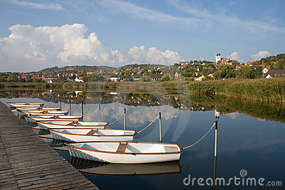 View of Tihany with boats