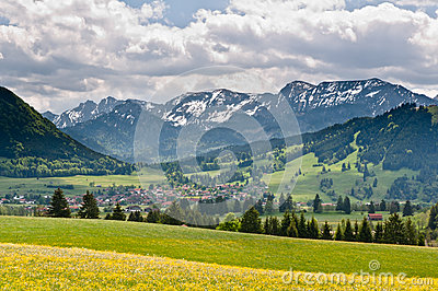 A view to Buching village in Bavarian Alps