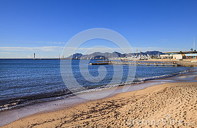 View to Cannes coastline and yacht port, France Stock Photo