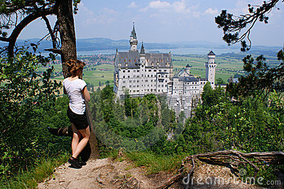 View to the castle of Neuschwanstein , Germany