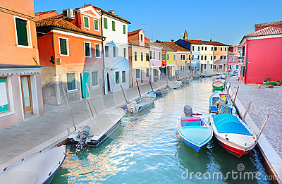 View to the colorful houses of Burano island