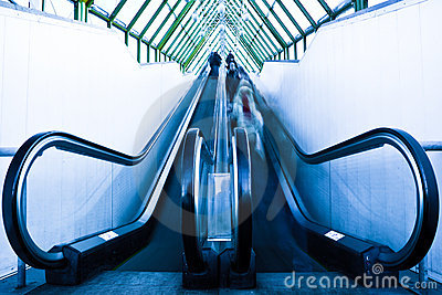 View to gray escalator