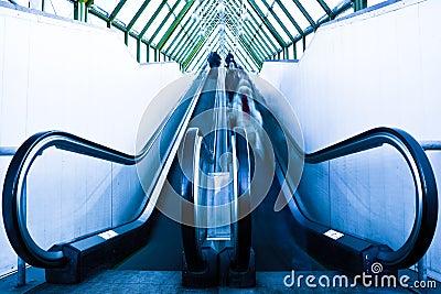 View to gray escalator