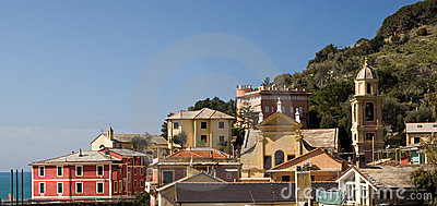 View to one of small town in Liguria
