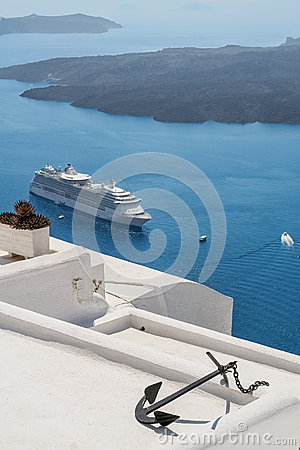 View to the sea and volcano from Fira the capital of Santorini i