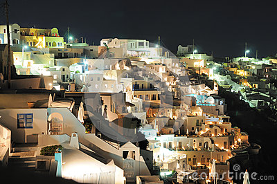 View to town Fira on Santorini by night