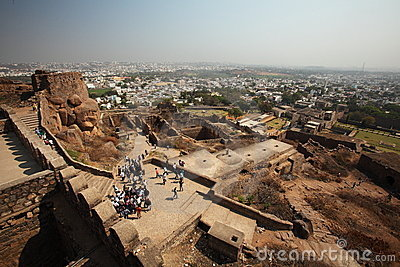 View from top of Golconda Fort, Hyderabad Editorial Photo