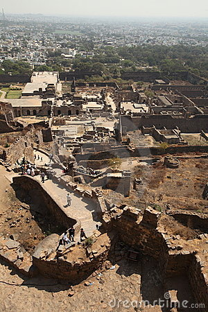 View from top of Golkonda Fort, Hyderabad Editorial Stock Image
