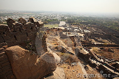 View from top of Golkonda Fort, Hyderabad Editorial Photo