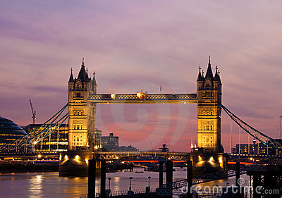 View of the Tower Bridge in London at sunset