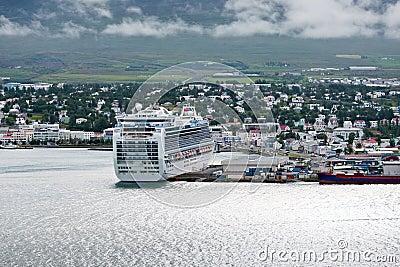 View of town through fjord, Akureyri - Iceland
