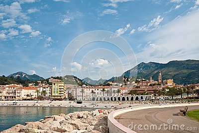 View of town and beach, Menton