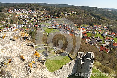 View on a town and a castle ruin