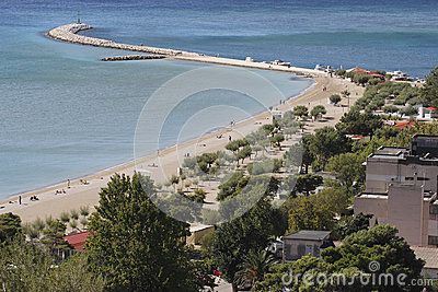 View of town sandy beach in Omis