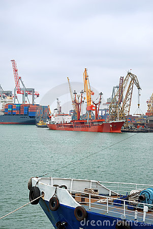 View on trading port with the ships