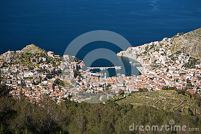 View of the traditional greek village from above