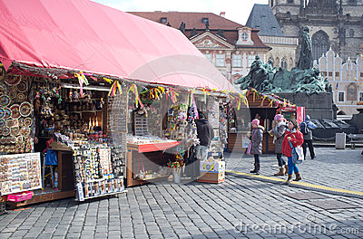Street market in Prague Editorial Stock Image