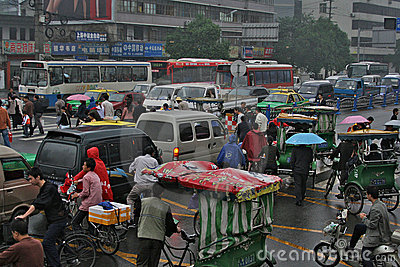 View on the traffic jam on crossroad, China Editorial Photo