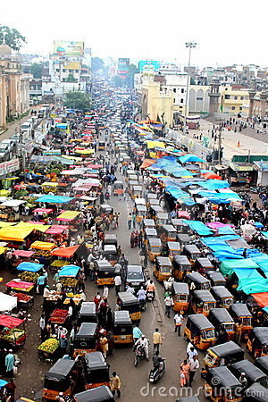 View of the traffic from the top of Charminar Editorial Photography