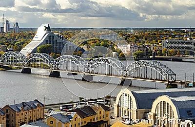 View on train bridge in Riga, Latvia