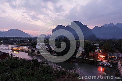 View twilight the river song, Laos.