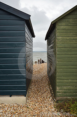 View between two beach huts