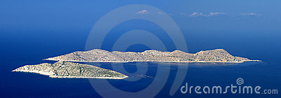 Panoramic view of two islands in Aegean sea, Rhodes island - Greece