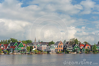 View of typical houses in the Netherlands