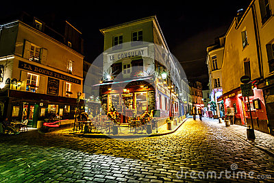 View of Typical Paris Cafe Le Consulat on Montmartre, France Editorial Image