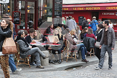 View of typical paris cafe on May 1, 2013 in Pari Editorial Image