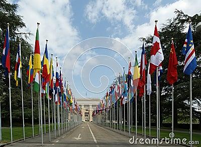 View of UN building in Geneva